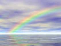 Rainbow on Water Reflected - 3D Illustration Stock Image