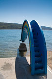 Rainbow water slide in Krk, Croatia Stock Photos