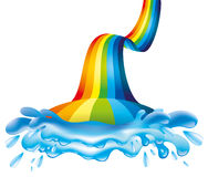 Rainbow and water splash. Stock Image