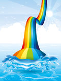 Rainbow and water splash. Stock Photo