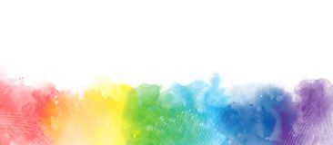 Rainbow watercolor artistic  border background isolated on white royalty free stock photography