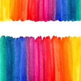 Rainbow watercolor background, borders, frame. Rainbow watercolor background with space for text. Multicolored frames or borders made of watercolour gradient Stock Image