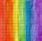 Rainbow watercolor background on math paper Stock Photo