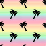 Rainbow watercolor background seamless pattern illustration with palm tree Stock Image