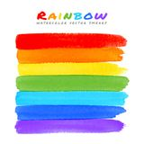 Rainbow Watercolor Brush Smears Stock Photos