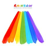 Rainbow Watercolor Brush Smears Stock Image
