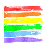 Rainbow watercolor hand drawn paint. Stroke brushes on white background. Rainbow spectrum royalty free illustration