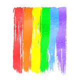 Rainbow  watercolor hand drawn paint. Stroke brushes on white background. Rainbow spectrum Royalty Free Stock Photos