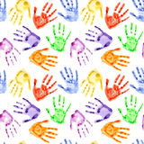 Rainbow watercolor hand prints Royalty Free Stock Photos