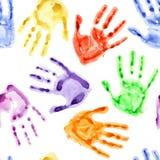 Rainbow watercolor hand prints Royalty Free Stock Photo