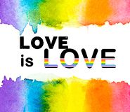 Rainbow watercolor with LOVE is LOVE text on a white background , Gay pride LGBT , against homosexual discrimination royalty free illustration