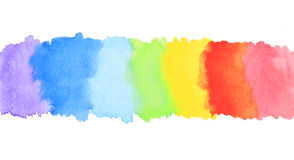 Rainbow watercolor paint stripe Stock Images