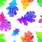 Rainbow watercolor painted oak leaves seamless Stock Images