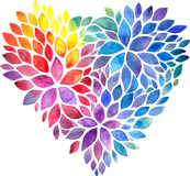 Rainbow watercolor painted petals vector heart Royalty Free Stock Photography