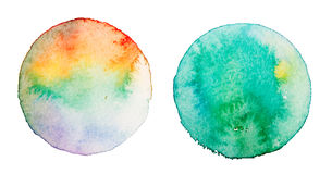 Rainbow watercolor round planet background Royalty Free Stock Photos