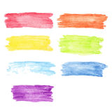 Rainbow  watercolor stains set Stock Photo