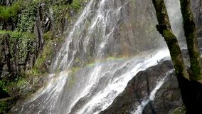 Rainbow in the waterfall on the background of green rocks stock video