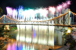 Rainbow and Waterfall at Riverfire. The Riverfire Festival in Brisbane Royalty Free Stock Photos