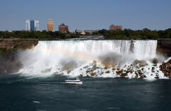Rainbow waterfall trip. Nice Niagara falls rainbow view with the ship stock photos