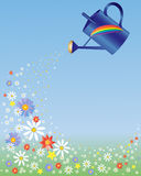 Rainbow watering can Royalty Free Stock Image
