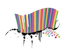 Rainbow wave full of colorful squares on splatter. Vector illustration of a wavy rainbow wall full of squares with black ink splatter below it and white paint Royalty Free Stock Photo