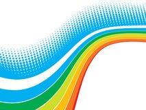 Rainbow wave halftone. Vector rainbow wave halftone with sample text background Royalty Free Stock Photos