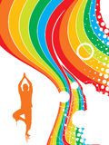 Rainbow wave line background. Abstract rainbow wave line background with yoga vector illustration Royalty Free Stock Images