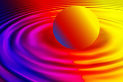 Rainbow waves with ball. Rainbow waves with rainbow ball representation in this graphic illustration Royalty Free Stock Image