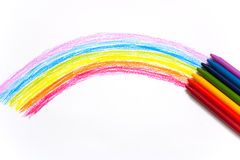 Rainbow wax crayon isolate Royalty Free Stock Photos