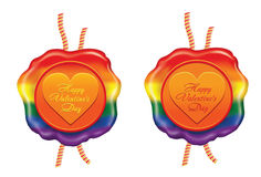 Rainbow  wax seal for Valentine`s day Stock Photography