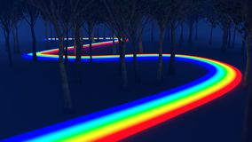 Rainbow way through the forest Royalty Free Stock Image
