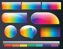 Rainbow web elements. Set of rainbow vector buttons, icons, bars, web elements Royalty Free Stock Image