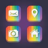 Rainbow web icon set Stock Photos