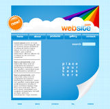 Rainbow website template. Blue website template with clouds and rainbow