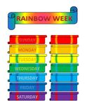 Rainbow week. View of a time table for a week in style of rainbow Stock Photography