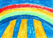 Rainbow Where the Sun Comes Through - Oil Pastel. The hand drawn illustration shows a rainbow where the sun comes through. The colors are very bright and shining Stock Photo