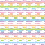 Rainbow white cloud. A playful, modern, and flexible pattern for brand who has cute and fun style. Repeated pattern. Happy, bright, and magical mood Stock Photography