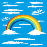Rainbow and white clouds. Stock Images