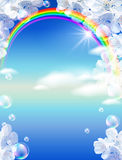 Rainbow and white flowers Royalty Free Stock Photos
