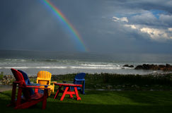 Rainbow At White Point. White Point Beach, Nova Scotia after a storm went out to the Atlantic Ocean Stock Photo