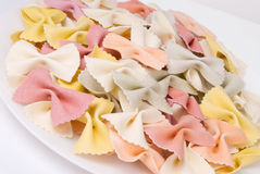 Rainbow Whole Wheat Bow Tie Pasta in a Variety of Colors Royalty Free Stock Photo