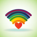 Rainbow wifi icon Stock Photo