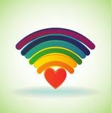 Rainbow wifi icon Stock Photo