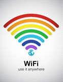 Rainbow WiFi. Rainbow style wifi sign. EPS10 vector image Stock Image