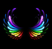 Rainbow wings. Wings, painted with colorful sparkles on a black background Stock Image