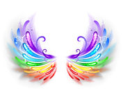 Rainbow wings on a white background Stock Images