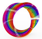 Rainbow Wire Ring. Abstract Rainbow Wire 3d Ring Shape, over white Stock Image