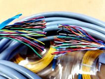 Multicolored wires royalty free stock photos