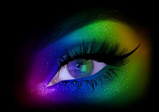Rainbow Woman Eye Party Makeup Stock Images