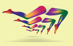 Rainbow woman legs Stock Images